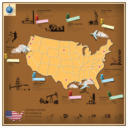 map of usa: United States Of America Landmark Business And Travel Infographic Design Template