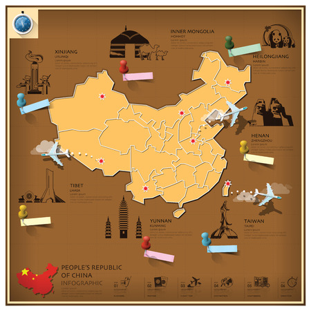 peoples republic of china: Peoples Republic Of China Landmark Business And Travel Infographic Design Template