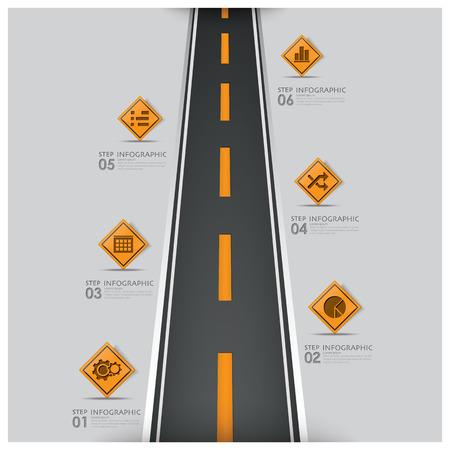 道路及び道路交通事業インフォ グラフィック デザイン テンプレートに署名します。