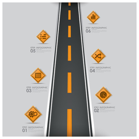 Road And Street Traffic Sign Business Infographic Design Template