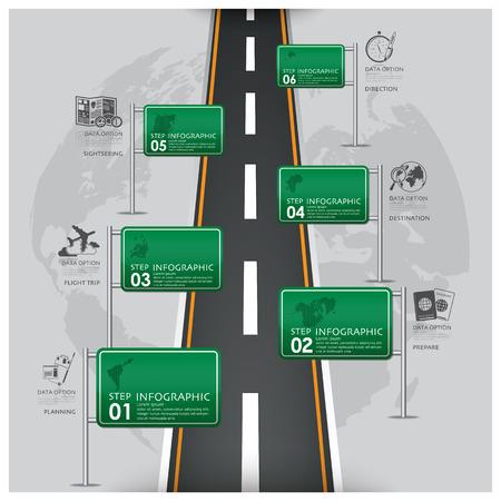 route: Routes et des rues Signalisation Voyage d'affaires Infographie Modèle de conception Illustration