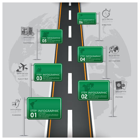 Stra�en-und Stra�enverkehrszeichen Business Travel Infographic Design-Vorlage Illustration
