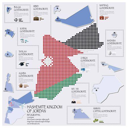 jordanian: Dot And Flag Map Of Jordan Infographic Design Template