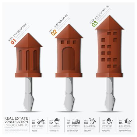 Gesch�fts-und Immobilien Bau Mit Pfeil Geb�ude Schraubendreher Diagramm Infografik Design-Vorlage