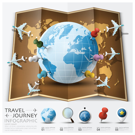 journey: Travel And Journey World Map With Point Mark Airplane Route Diagram Infographic Background Design Template