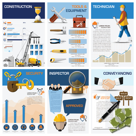 building inspector: Real Estate And Property Business Chart Diagram Infographic Design Template Illustration
