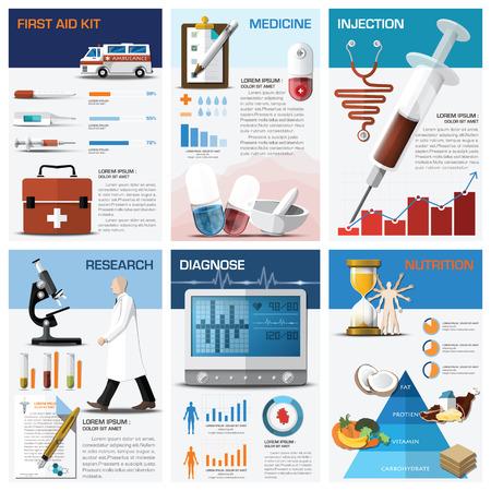primeros auxilios: Salud y la carta médica Plantilla Diagrama Infografía Diseño