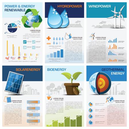 Kracht En Energie Hernieuwbare Grafiek Diagram Infographic Design Template