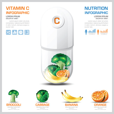 vitamin c: Vitamin C Chart Diagram Health And Medical Infographic Design Template Illustration