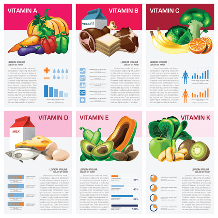 nutrition health: Health And Medical Vitamin Chart Diagram Infographic Design Template Illustration