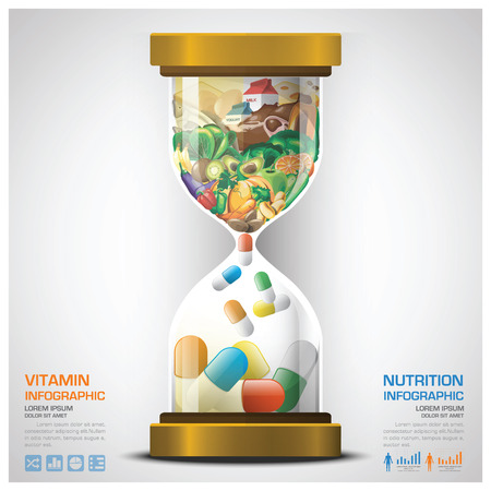 nutrition doctor: Vitamin And Nutrition Food With Sandglass Infographic Design Template Illustration