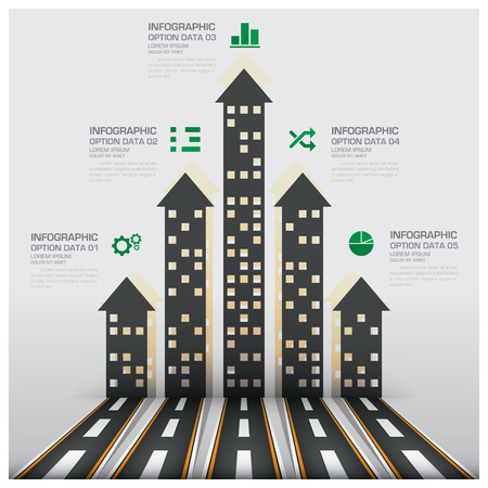 Real Estate And Property Business Infographic With Building Arrows Diagram Vector Design Template