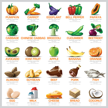 charts: Ingredients Icons Set Vegetable Fruit And Meat For Nutrition Food Vector Design
