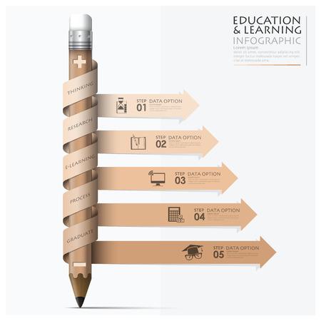 나선형 화살표 연필 디자인 템플릿과 함께 교육 및 학습 단계 인포 그래픽