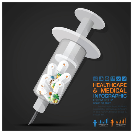vitamin pill: Healthcare And Medical Vitamin Pill Capsule With Syringe Infographic Vector Design Template