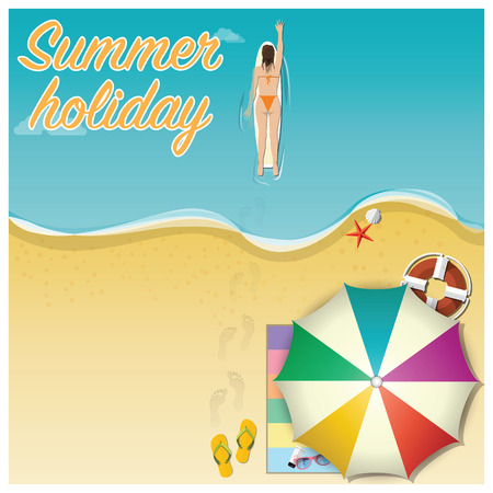 beach illustration: Summer Holiday Vacation Background Design Template
