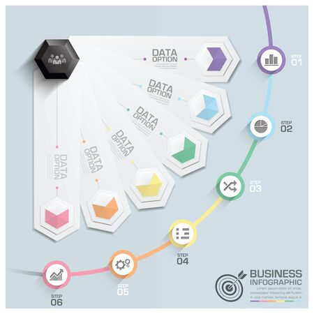 financial planner: Modern Hexagon Round Rotate Step Business Infographic Diagram Vector Design Template Illustration
