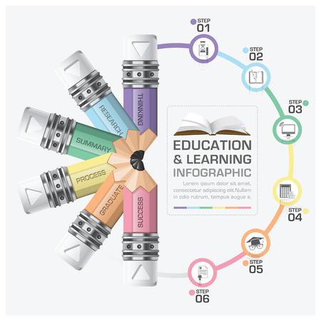教育と学習回転鉛筆図ベクター デザイン テンプレートで手順インフォ グラフィック