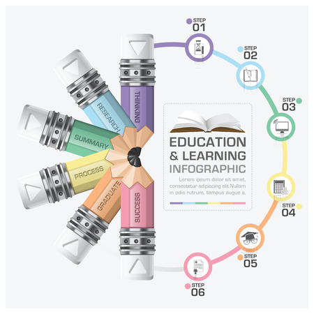 Education And Learning Step Infographic With Rotate Pencil Diagram Vector Design Template