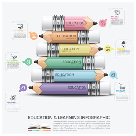 教育と鉛筆ステップ図ベクトル デザイン テンプレートのインフォ グラフィック件名の学習