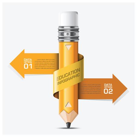 pencil: Educaci�n y el aprendizaje con Espiral Flecha L�piz Paso Plantilla Infograf�a Dise�o vectorial Vectores