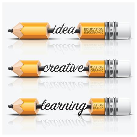 lapiz: Educación y el aprendizaje Paso Infografía Con Carve Lápiz plomo Vector plantilla de diseño