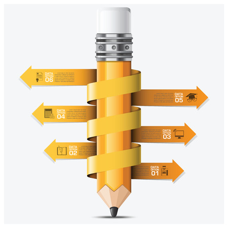 教育と学習スパイラルアロー鉛筆ステップ インフォ グラフィック ベクトル デザイン テンプレート