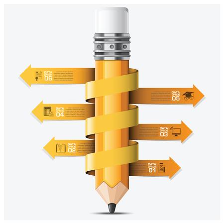 Bildung und Lernen mit Spiral Pfeil Pencil Schritt Infografik Vektor-Design-Vorlage