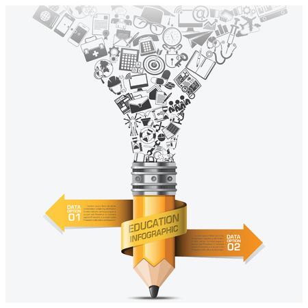 aprendizaje: Educación y Aprendizaje Paso Infografía Con Espiral Flecha Plantilla Lápiz