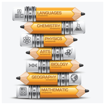 subject: Education And Learning Pencil Of Subject Step Infographic Diagram Vector Design Template