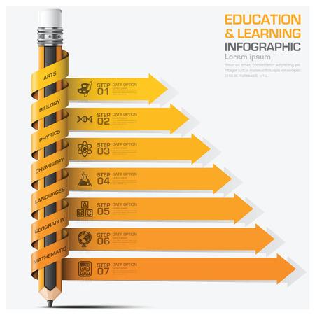 教育と学習件名スパイラル矢印鉛筆図ベクター デザイン テンプレートで手順インフォ グラフィック  イラスト・ベクター素材