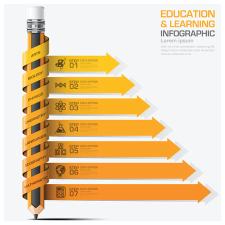 learning concept: Education And Learning Step Infographic With Subject Spiral Arrow Pencil Diagram Vector Design Template