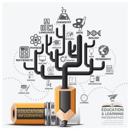 교육 및 학습 단계 인포 그래픽으로 나무 연필 리드 주제도 벡터 디자인 템플릿 일러스트