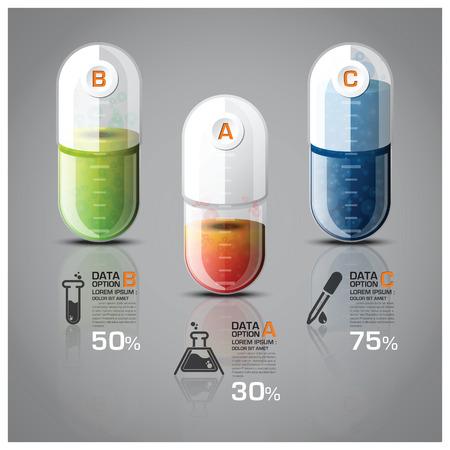 Sanità e medicina Infografica pillola Capsule Diagram Vector Design Template Vettoriali