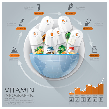 global health: Global Medical And Health Infographic With Round Circle Vitamin Capsule Diagram Vector Design Template