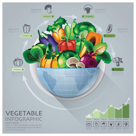 라운드 원 야채 비타민도 벡터 디자인 템플릿 글로벌 의료 및 건강 인포 그래픽