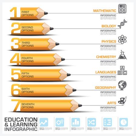 教育と学習鉛筆図ベクター デザイン テンプレートの件名のステップ インフォ グラフィック
