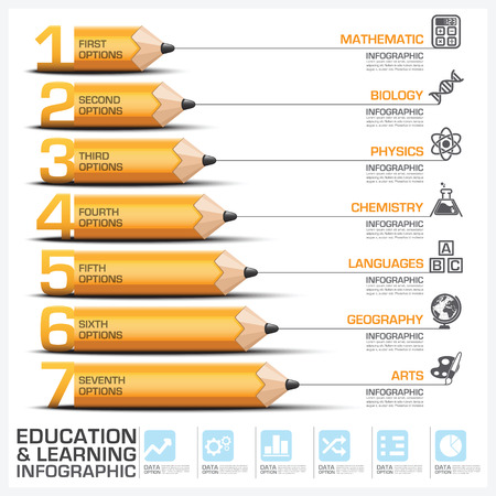 Education And Learning Step Infographic With Subject Of Pencil Diagram Vector Design Template