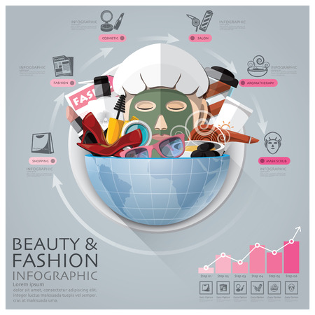 Global Beauty And Fashion Infographic With Round Circle Vegetable Vitamin Diagram Vector Design Template