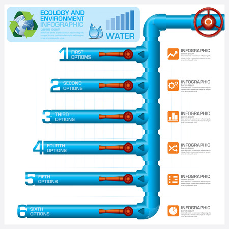 pipe water pipeline: Water Pipeline Ecology And Environment Business Infographic Vector Design Template