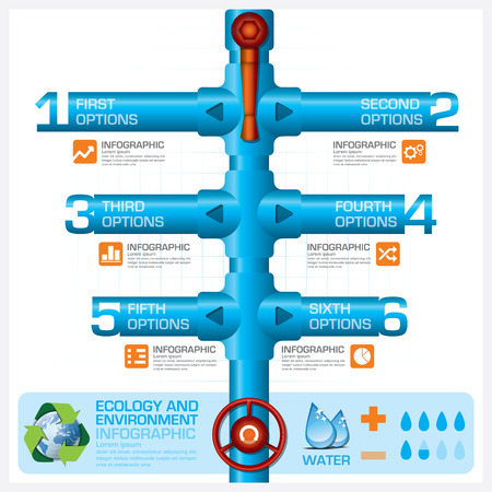 Water Pipeline Ecology And Environment Business Infographic Vector Design Template