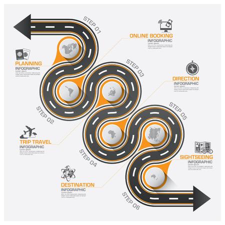 curvas: Camino Y la calle de Viajes de Negocios Curva Ruta Infografía Diagrama vectorial plantilla de diseño