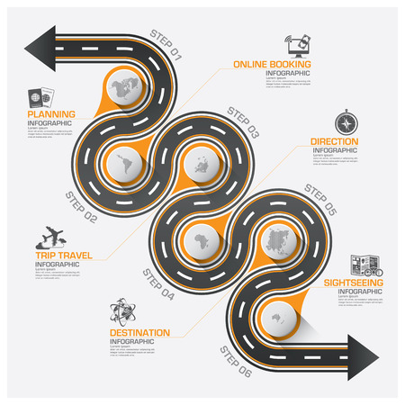 road line: Road And Street Business Travel Curve Route Infographic Diagram Vector Design Template