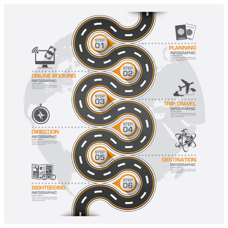 curve line: Road And Street Business Travel Curve Route Infographic Diagram Vector Design Template
