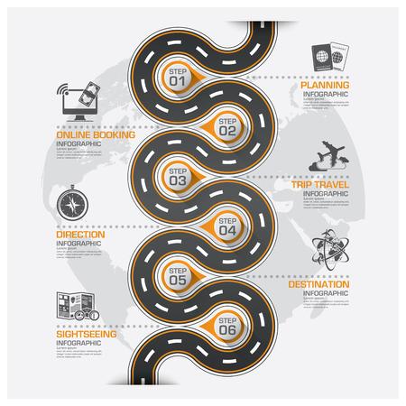 business travel: Stra�en und ihre Business Travel Curve Routeninformationsgrafik Diagram Vektor Entwurfsvorlage