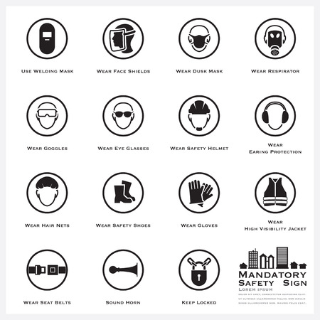 Mandatory Safety And Caution Sign Icons Set Vector Design