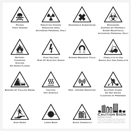Caution And Warning Sign Icons Set Vector Design Ilustracja