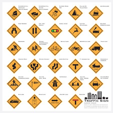 road sign: Road And Street Warning Traffic Sign Icons Set Vector Design
