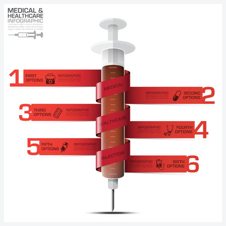 bind: Health And Medical Infographic With Bind Spiral Tag Syringe Diagram Vector Design Template