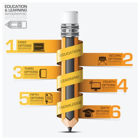 aprendizaje: Educación y el aprendizaje Infografía con el lápiz Tag Espiral Paso Diagrama vectorial plantilla de diseño